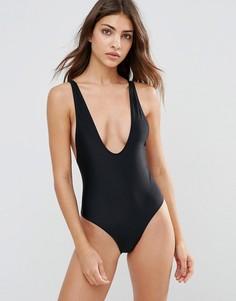 Слитный купальник в стиле 80-х Evil Twin - Черный
