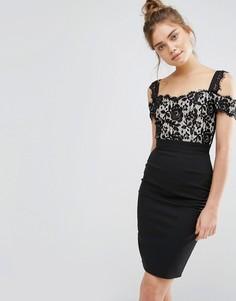 Кружевное платье-футляр 2 в 1 Paper Dolls - Черный