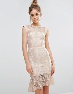 Кружевное платье с баской по краю Paper Dolls - Розовый
