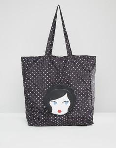 Большая складываемая сумка с лицом куклы Lulu Guinness - Черный