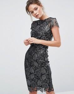 Платье-футляр из кружева металлик Paper Dolls - Черный