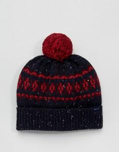Темно-синяя шапка‑бини из овечьей шерсти с помпоном Jack Wills - Темно-синий