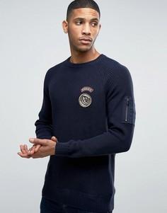 Джемпер в рубчик с нашивками в стиле милитари Jack & Jones - Темно-синий