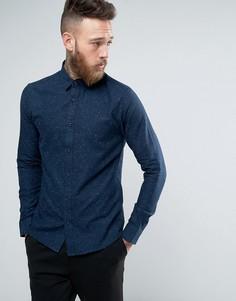 Рубашка слим в крапинку с закругленным воротником Troy - Темно-синий