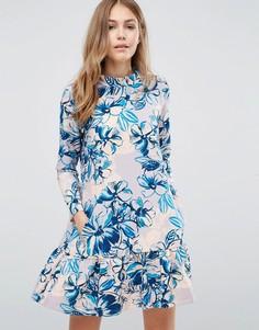 Платье с цветочным принтом и заниженной талией Closet - Мульти