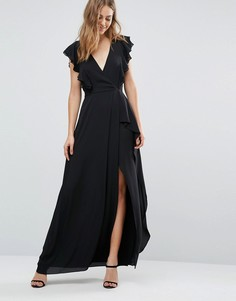 Платье с оборками BCBG MAXAZRIA - Черный