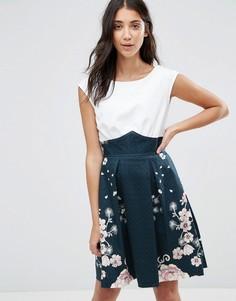 Темно-синее платье с принтом и складками Closet - Мульти