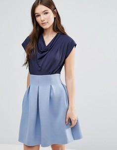 Платье с драпированной горловиной и пышной юбкой Closet - Синий