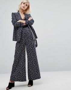 Комбинируемые брюки с принтом Fashion Union - Синий