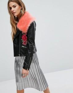 Байкерская куртка из искусственной кожи с вышивкой Young Bohemians - Черный