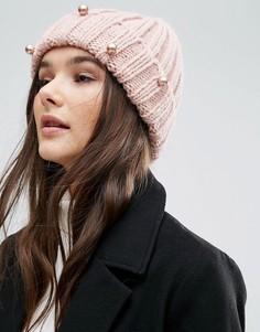 Шапка-бини крупной вязки с жемчугом Helene Berman - Розовый
