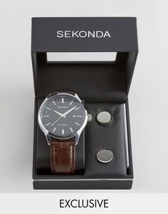 Часы с коричневым кожаным ремешком и запонки в подарочном наборе Sekonda эксклюзивно для ASOS - Коричневый