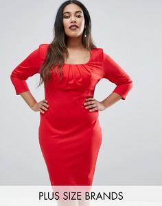 Платье-футляр с плиссировкой на груди Goddiva Plus - Красный