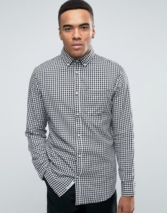 Узкая рубашка в клеточку с воротником на пуговицах Jack & Jones - Белый