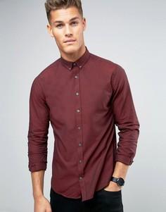 Бордовая оксфордская рубашка узкого кроя Lindbergh - Фиолетовый