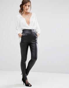 Зауженные брюки из искусственной кожи с высокой талией и молниями Parallel Lines - Черный