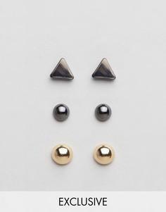 Набор из 3 пар сережек-гвоздиков DesignB - Мульти