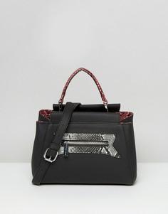 Маленькая сумка-тоут с отделкой из искусственной змеиной кожи Skinnydip - Черный