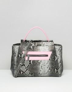 Большая сумка-тоут с эффектом змеиной кожи Skinnydip - Мульти