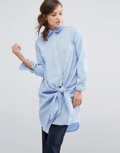 Платье-рубашка в тонкую полоску с завязкой спереди Parallel Lines - Синий