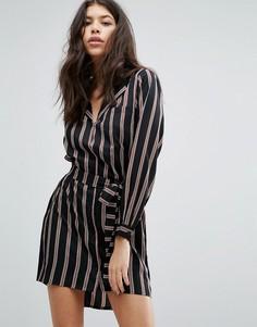 Платье-рубашка в полоску свободного кроя Influence - Черный