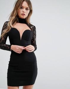 Облегающее платье с вырезом сердечком и кружевными рукавами Rare London - Черный