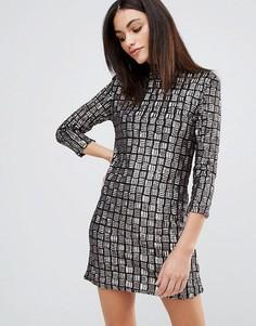 Цельнокройное платье с отделкой пайетками Goldie Alexa - Серый
