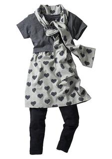 Комплект: платье + легинсы + шарф