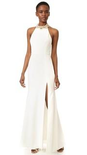 Вечернее платье с завязками уздечкой Marchesa Notte