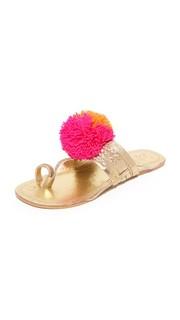 Leo Pom Pom Sandals Figue