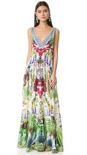 Многоярусное платье со сборками и V-образным вырезом Camilla
