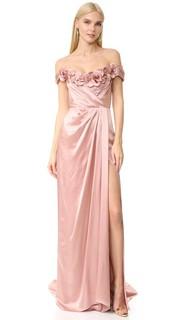 Атласное вечернее платье Marchesa