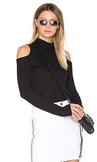 Cold shoulder turtleneck top - Lanston