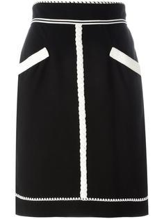 юбка-карандаш с монохромным узором Chanel Vintage