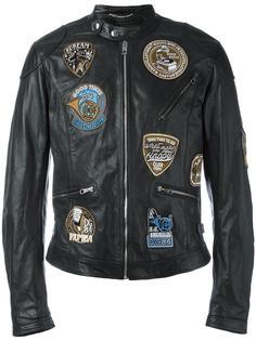 кожаная куртка с заплатками Dolce & Gabbana