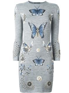 жаккардовое трикотажное платье с принтом бабочек Alexander McQueen
