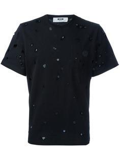 футболка с потертой отделкой MSGM