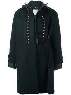 пальто с кожаной отделкой Sacai
