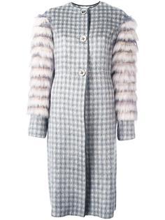 жаккардовое пальто с рукавами из меха Agnona