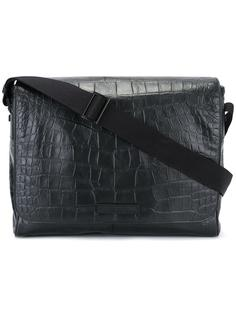 сумка-почтальонка с эффектом крокодиловой кожи Emporio Armani