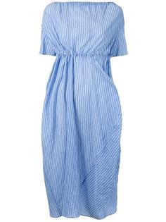 полосатое платье миди с драпировкой Assin