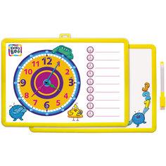 Доска-часы двусторонняя, с маркером (желтая) Kribly Boo