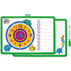 Доска-часы двусторонняя, с маркером (зеленая) Kribly Boo