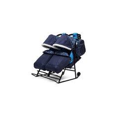 Санки-коляска для двойни Зимняя сказка 3В Твин, черная рама, ABC Academy, синий/зоопарк