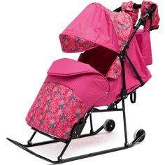 Санки-коляска Зимняя сказка 3В Авто, черная рама, ABC Academy, розовый/снежинки