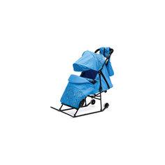 Санки-коляска Зимняя сказка 3В Авто, черная рама, ABC Academy, голубой/зоопарк