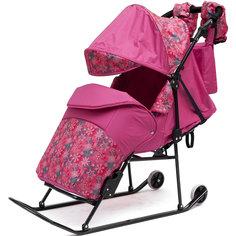 Санки-коляска Зимняя сказка 2В Авто, черная рама, ABC Academy, розовый/снежинки