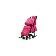 Санки-коляска Зимняя Сказка 3В + ВК , черная рама, ABC Academy, розовый/снежинки