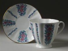 Чайная Чашка с блюдцем Гвоздика Маргаритки Императорский Фарфоровый Завод