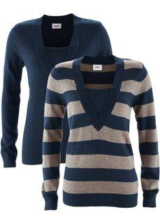 Пуловер (комплект из 2-х изделий) (черный в полоску + черный) Bonprix